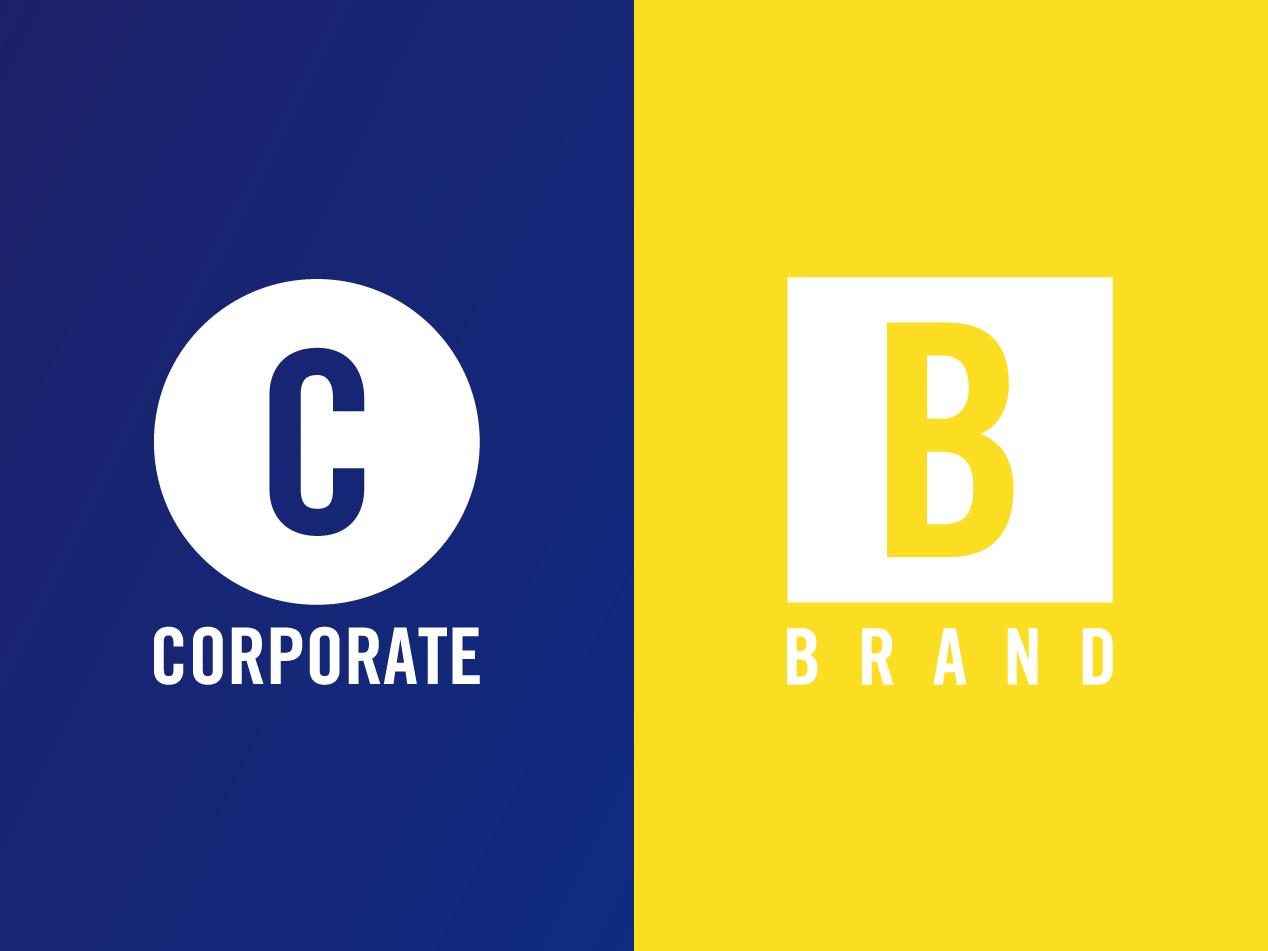 企業ロゴとブランドロゴ